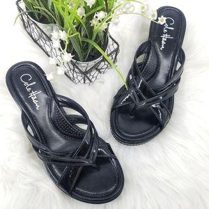 Cole Haan Nike Air Black Leather Platform Sandal
